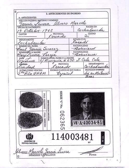 Libreta se Servicio Militar de Álvaro García Linera como licenciado en matemáticas