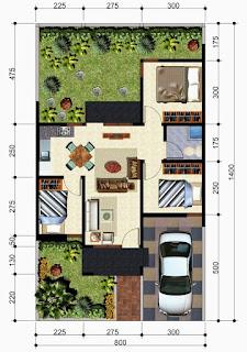 Minimalist House floor plan Type 45