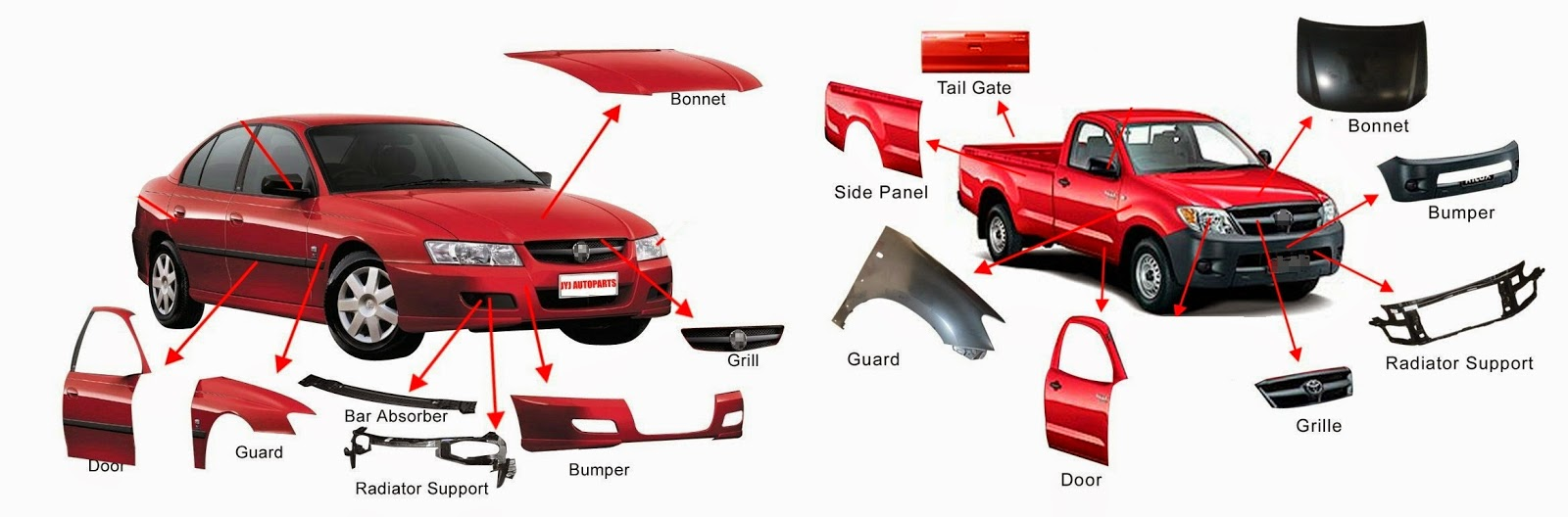 Body Parts Cars Names