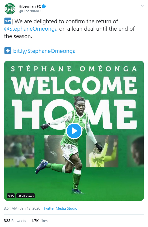 Hibernian confirm the return of Stéphane Oméonga on a loan deal until the end of the season