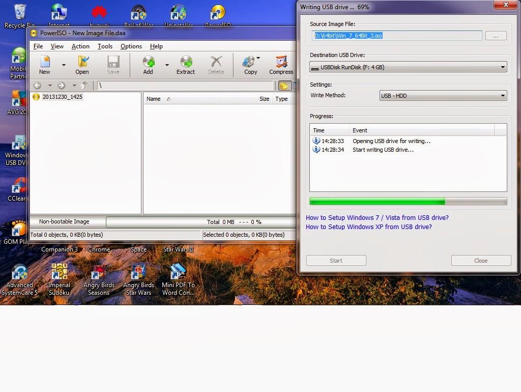 membuat bootable USB dengan PowerISO | ~Abizidane1978 Blog