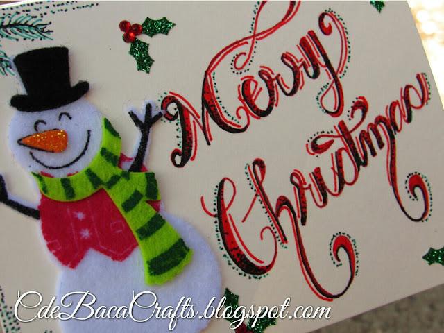 Snowman Christmas card by CdeBaca Crafts.