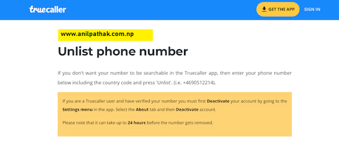 truecaller unlist number