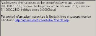 FeedsyncroERROR - Microsoft Feed Syncronization errore in avvio