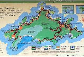 mapa das trilhas, ilha grande, trilha, T1,T2,T3,T4, aventureiro, lopes mendes, trilha até caxadaço, rio de janeiro, ano novo, camping, fotografia, mapa