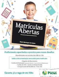 Matrículas abertas nas escolas da rede municipal de ensino em Picuí