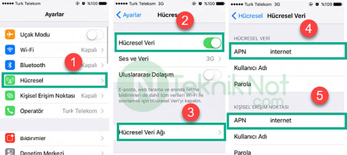 iPhone, Türk Telekom Mobil internet Ayarları