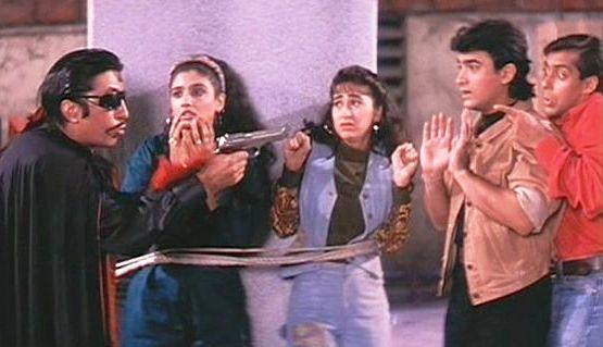 Andaz Apna Apna, Shakti Kapoor, Aamir Khan, Salman Khan, Karisma Kapoor, Raveena Tandon