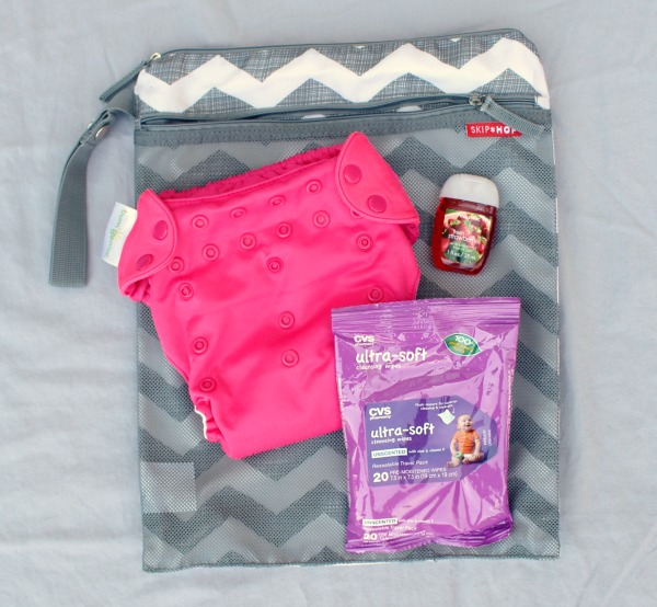 Grey chevron wet/dry bag by Hop Skip Go: perfect for packing toddler essentials into a purse.