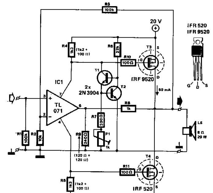 Mosfet Audio Amplifier 20w Electronic Circuit Schematic