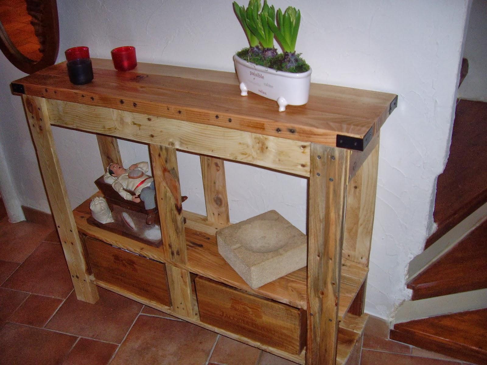 objets d co tutoriels et meubles en bois de palettes console en bois de palette suite. Black Bedroom Furniture Sets. Home Design Ideas