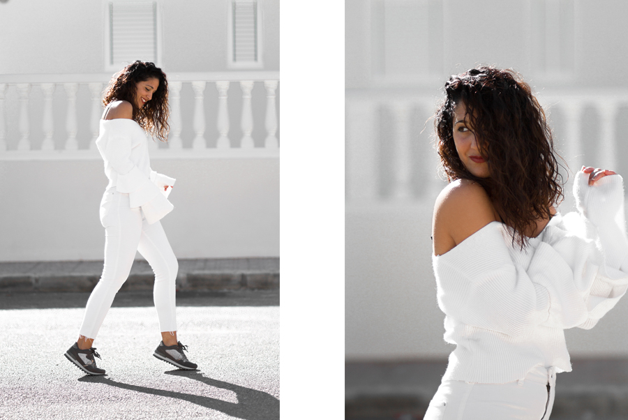 Look Maray Alvarez total white con sneakers B3D