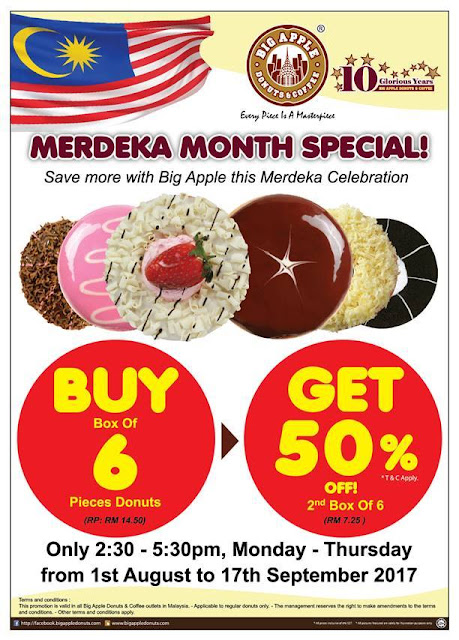 Big Apple Donuts & Coffee Malaysia Merdeka Month Special Discount Offer Promo