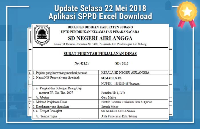 Update Selasa 22 Mei 2018 Aplikasi SPPD Excel Download