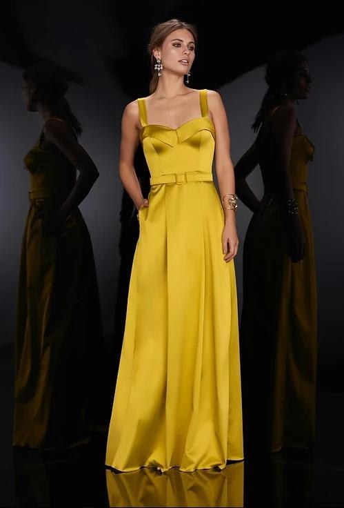 vestido de festa amarelo mostarda