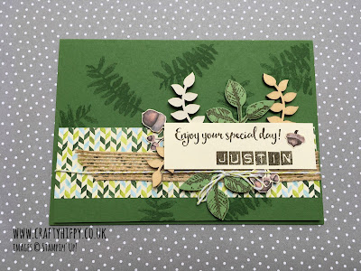 Make this personalised birthday card featuring the Painted Autumn Designer Series Paper and Touches of Nature Elements by Stampin' Up!