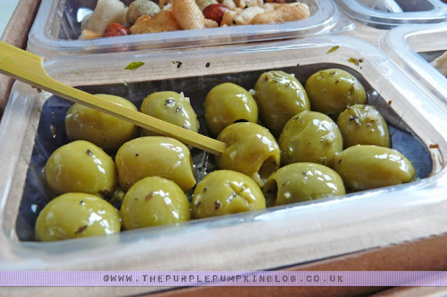 graze box review - green olives with basil and garlic