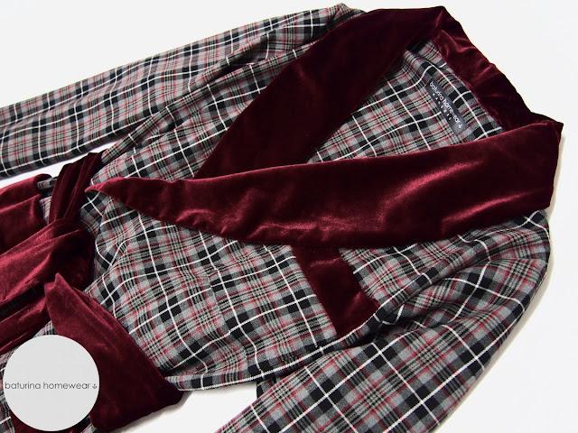 Mens vintage wool dressing gown english smoking jacket plaid tartan robe warm