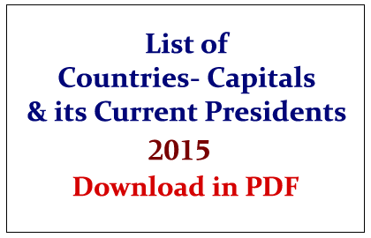 List of Countries- Capitals and its Current President 2015