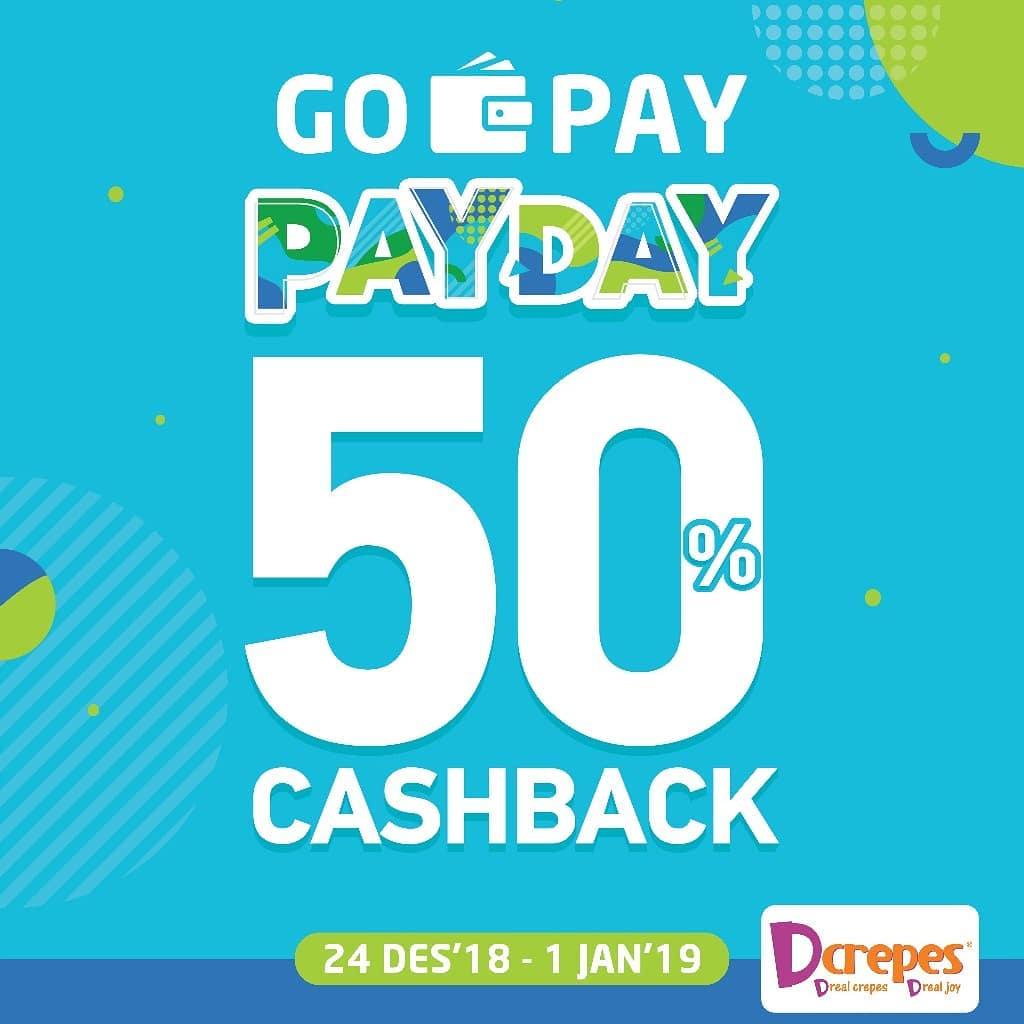 #Dcrepes - Promo Cashback 50% Pakai GOPAY (s.d 01 Jan 2019)