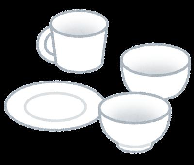 白い食器のイラスト