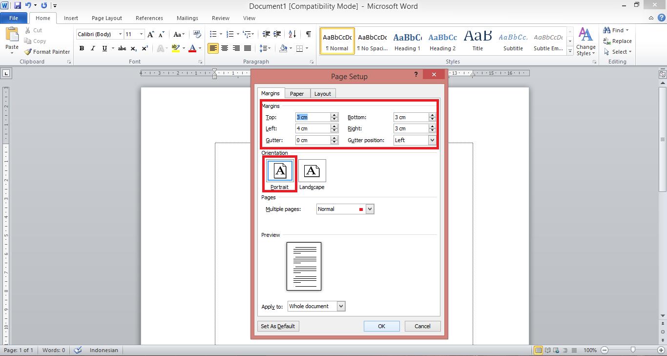 Format Penulisan Makalah Margin Kertas Font Dan Spasi Di Microsoft Word Kuas