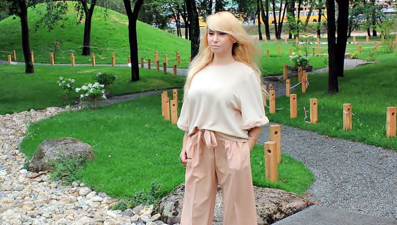 Shopping on ROSEGAL and DRESSLILY: Sweatshirt With Faux Fur and Wide Leg Pants. Широкие брюки и свитшот.