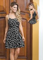 Vestido de Alça Estampa de Laço - Moda Pop