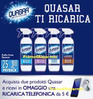 Logo Quasar ti regala ricariche telefoniche da 5€