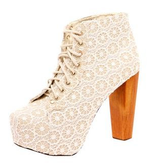 Ameera Cream Floral Lace Block Heel Shoe Boot Boohoo