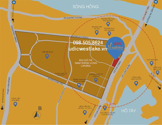 Vị trí dự án chung cư UDIC Westlake võ chí công tây hồ