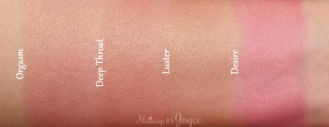 Nars Orgasm Deep Throat Luster Desire Blush Swatches
