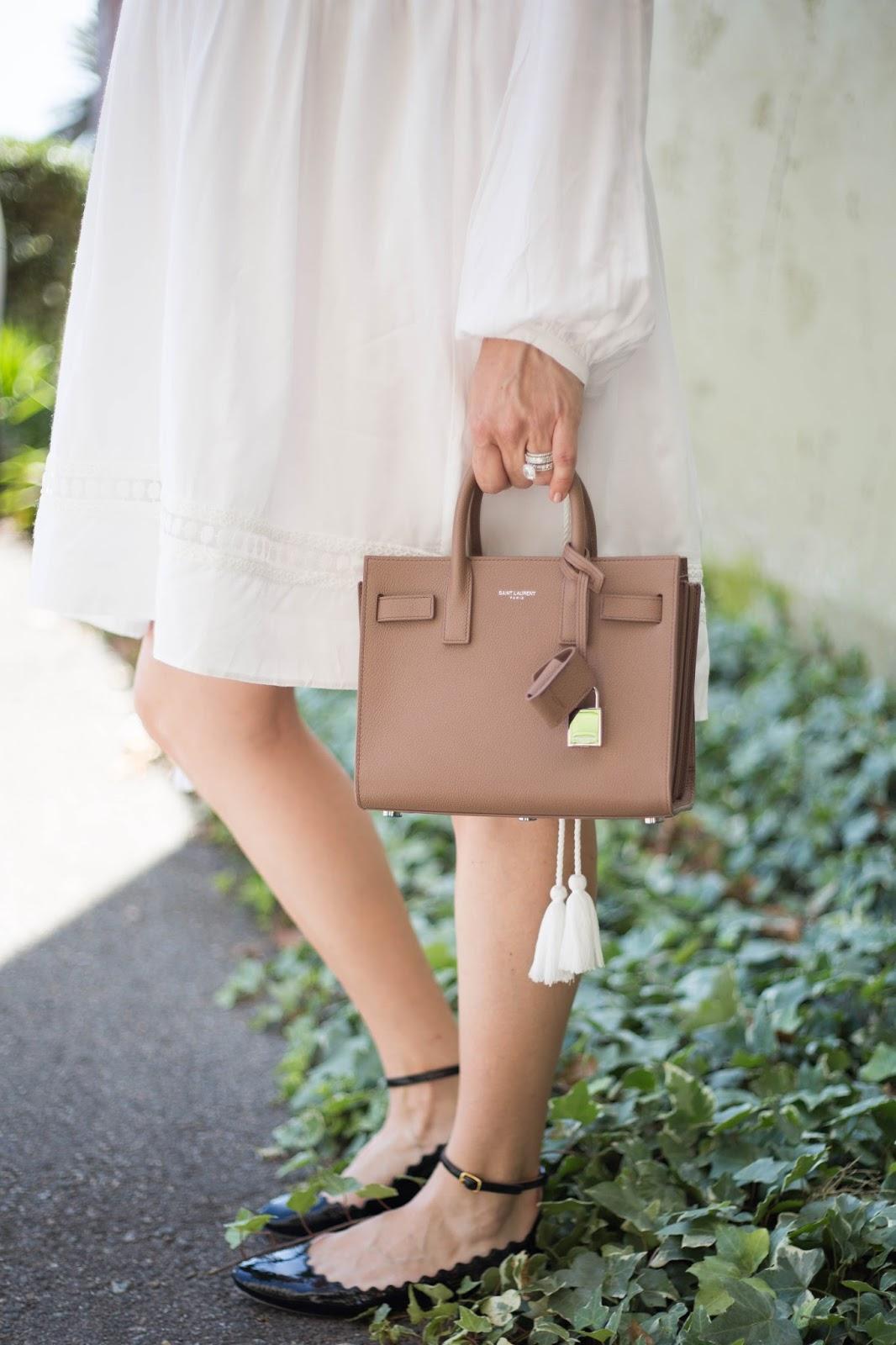 blush saint laurent bag and chloe flats