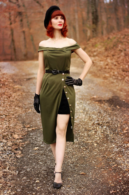 Dropship-Clothes Green Military Pencil Dress
