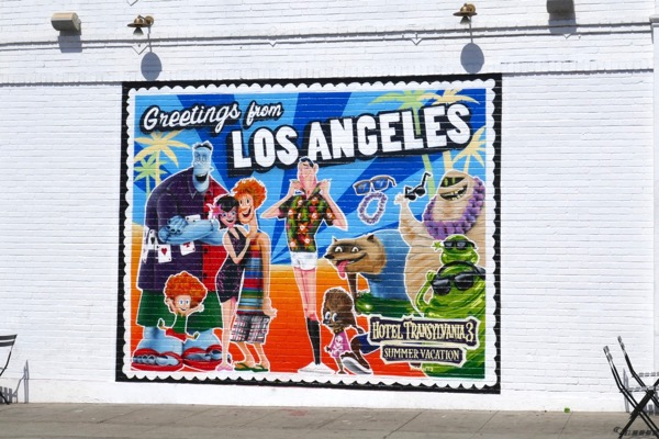 Greetings from LA Hotel Transylvania 3 mural ad