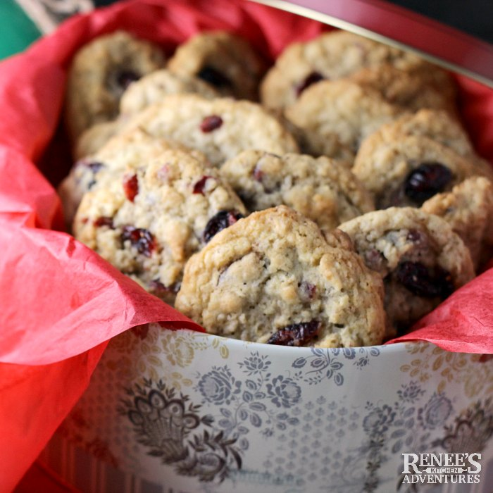 Oatmeal Cookies with Cranberries and Walnuts in tin for gift giving