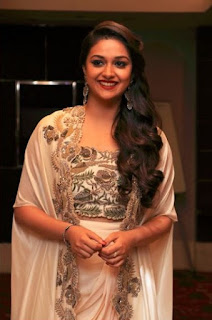Keerthy Suresh in white Dress with Cute Smile in Saamy Square Audio Launch 2