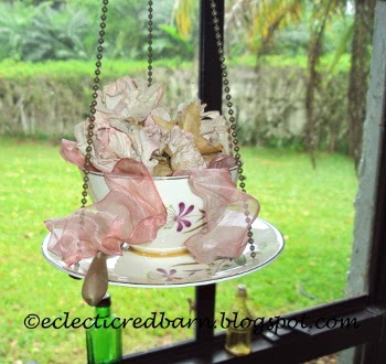 Eclectic Red Barn: Cup & Saucer Bird Feeder with silk flowers