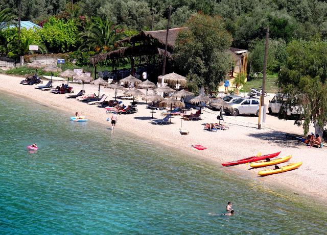 Agrios Beach Bar on Spilia Beach, Meganisi Island, Greece