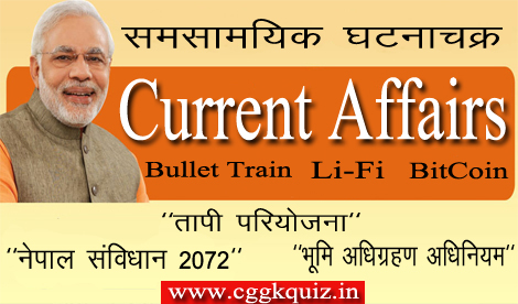 indian latest monthly current affairs hindi- bitcoin, tapi project, bullet train, li-fi, nepal constitution 2072, land acquisition act question with answers for completions exams upsc,cgpsc,railway,bank,state level etc.