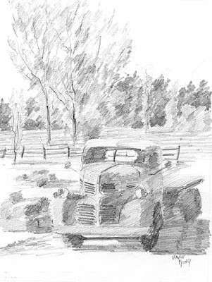 art sketch preliminary pencil graphite truck dodge
