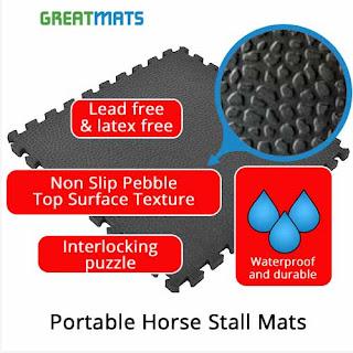 Greatmats Portable Horse Stall Mats infographic temporary stall mats