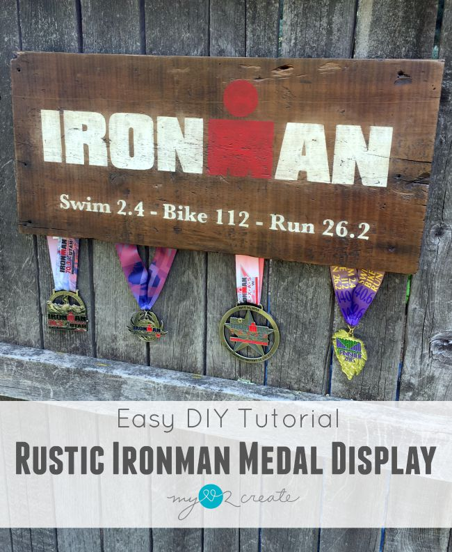 I am loving this easy way to display Ironman medals, but it would also work for ANY type of medal collection!  This is a great gift idea too!
