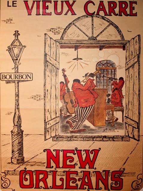 Νέα Ορλεάνη και τζαζ σε γαλλική αφίσα / New Orleans' le Vieux Carre jazz