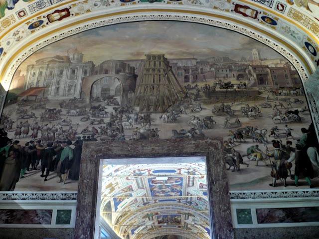 Affresco Biblioteca Vaticana che raffigura posa in opera obelisco