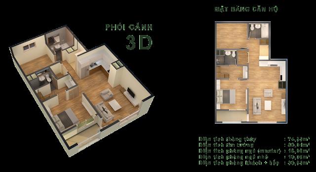 Căn B (05 - 09) - 74,35m2 tòa CT-04
