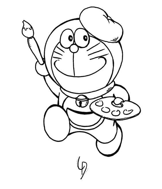 Tranh cho bé tô màu Doraemon làm họa sĩ