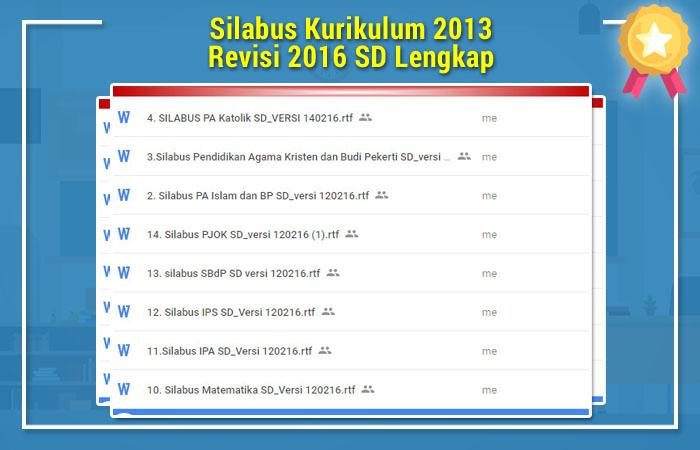 Silabus Kurikulum 2013 Revisi 2016 SD