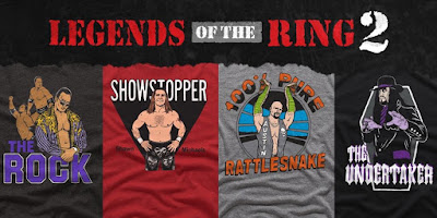 The WWE Legends of the Ring 2 T-Shirt Collection by Homage – Stone Cold Steve Austin, The Rock, The Heartbreak Kid Shawn Michaels & The Undertaker