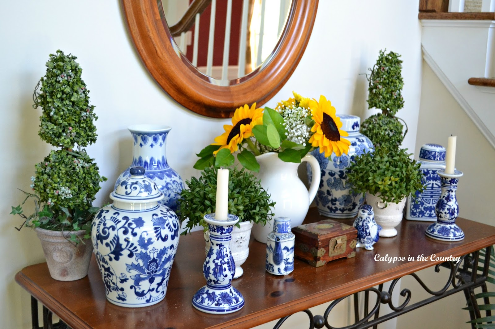 Console table decorated with classic blue and white porcelain